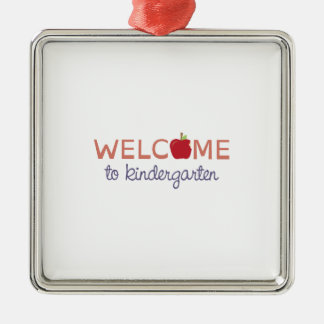 Welcome To Kindergarten Square Metal Christmas Ornament