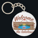 "Welcome To Lake House Keychain<br><div class=""desc"">Vacationing at the bay is lots of fun.  Take this fish to remember it always.</div>"