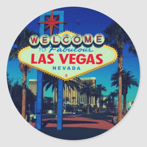 Welcome to las vegas classic round sticker zazzle for Arts and crafts stores in las vegas