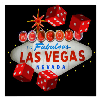 Welcome to Las Vegas + Dice Vector Graphic Poster