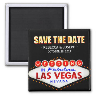 Welcome to Las Vegas Neon Sign - Save the Date 2 Inch Square Magnet