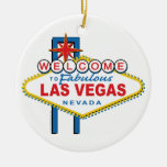 Welcome-to-Las-Vegas Retro Double-Sided Ceramic Round Christmas Ornament