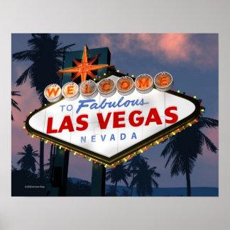 Welcome to Las Vegas Sign Night Retro Poster Print