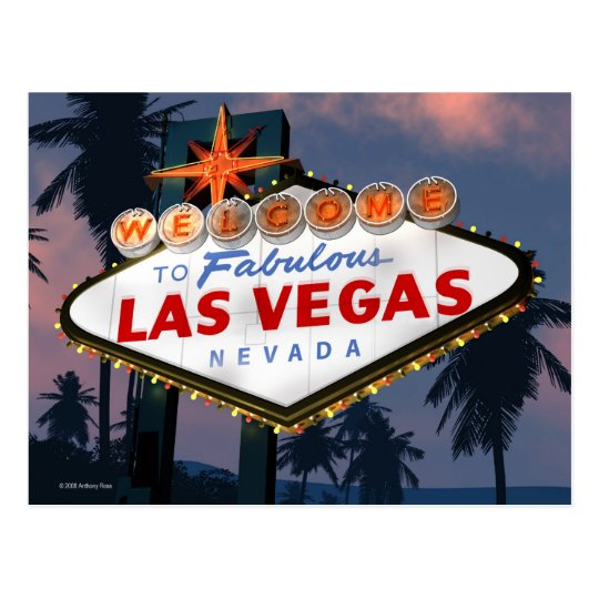 Welcome to Las Vegas Sign Retro Neon Sign Postcard