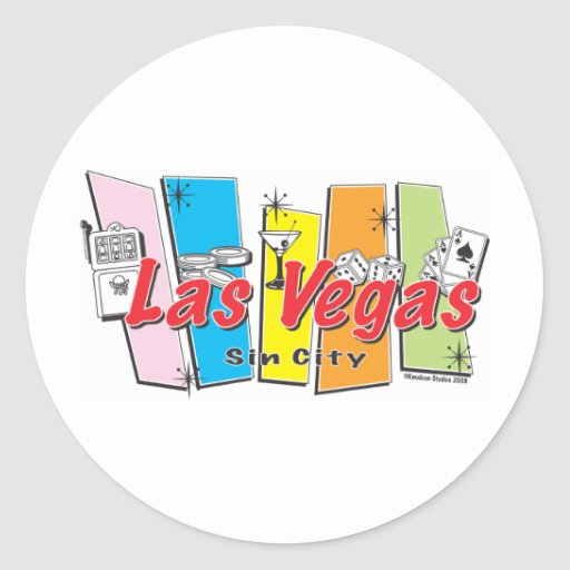 Welcome to las vegas sin city classic round sticker zazzle for Arts and crafts stores in las vegas