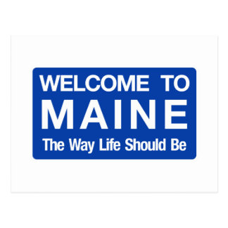 Welcome to Maine - USA Road Sign Postcard