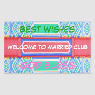 Welcome to Married Club  - Chinese Lucky Pattern Rectangular Sticker