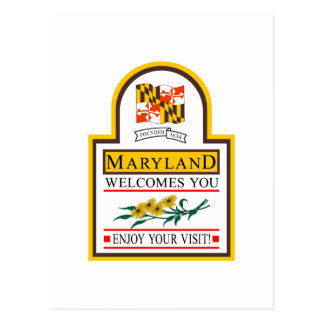 Welcome to Maryland - USA Road Sign Postcard