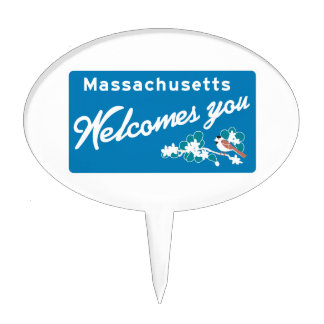 Welcome to Massachusetts - USA Road Sign Cake Pick