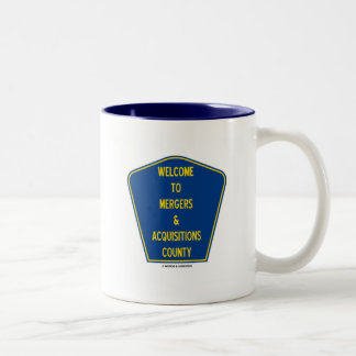 Welcome To Mergers & Acquisitions County (Sign) Two-Tone Coffee Mug