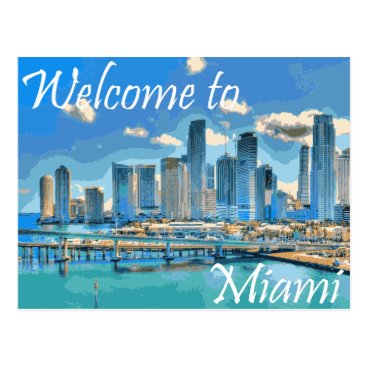 Welcome to Miami English Paint Effected Image Postcard