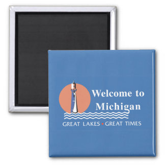 Welcome to Michigan - USA Road Sign 2 Inch Square Magnet