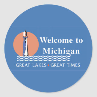 Welcome to Michigan - USA Road Sign Classic Round Sticker
