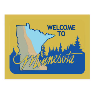 Welcome to Minnesota - USA Road Sign Postcard