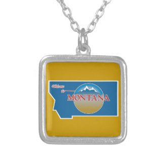Welcome to Montana - USA Road Sign Square Pendant Necklace