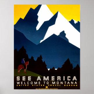 Welcome to Montana Vintage WPA Poster