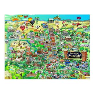 Welcome to Moscow Idaho - Cartoon Map Postcard