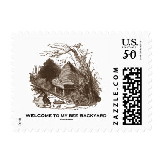 Welcome To My Bee Backyard (Beehive In Garden) Postage