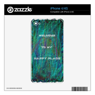 """""""Welcome To My Happy Place"""" Colorful Vibrant Abstr Decal For iPhone 4"""