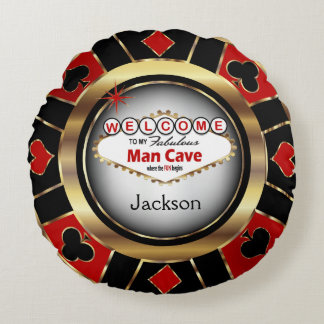 Welcome to my Man Cave - Personalize Round Pillow