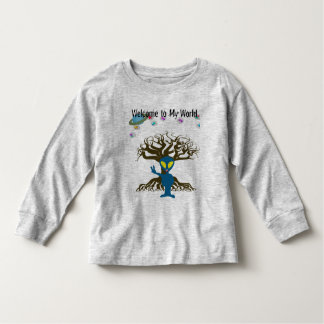Welcome to my World Blue Alien Peace Sign T-shirt