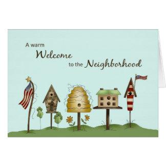 Welcome to Neighborhood Birdhouses & Flags Card