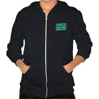 Welcome to New York - USA Road Sign Hooded Sweatshirts