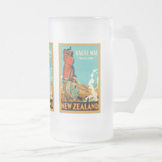 Welcome To New Zealand ~ Haere Mai ~Vintage Travel Frosted Glass Beer Mug