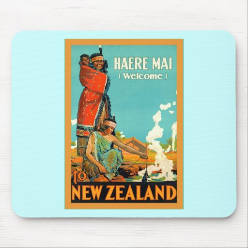 Welcome To New Zealand ~ Haere Mai ~Vintage Travel Mouse Pads