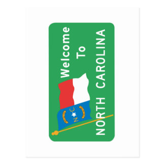 Welcome to North Carolina - USA Road Sign Postcard