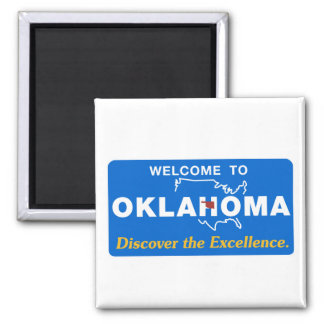 Welcome to Oklahoma - USA Road Sign 2 Inch Square Magnet