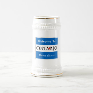 Welcome to Ontario, Road Sign, Canada Beer Stein