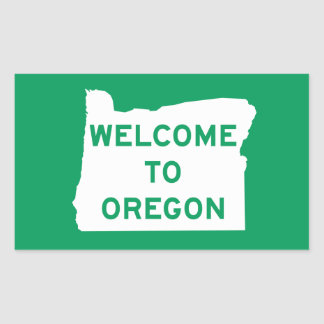 Welcome to Oregon - USA Road Sign Rectangular Sticker