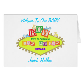 Welcome To Our Baby BOY Born In Fabulous Las Vegas Card