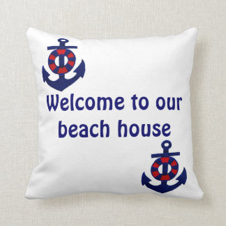 Welcome to our Beach House Anchor Throw Pillow