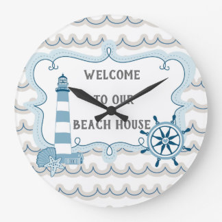 Welcome to Our Beach House blue and gray Large Clock