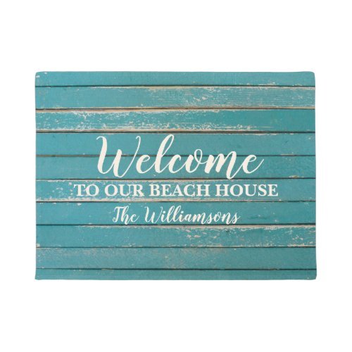 Welcome to Our Beach House Custom Family Name Doormat