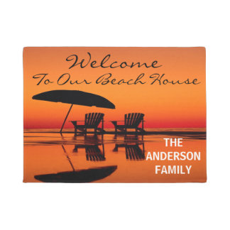 Welcome To Our Beach House Personalized Door Mat