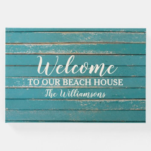 Welcome to our Beach Lake House Rustic Wood Guest Book