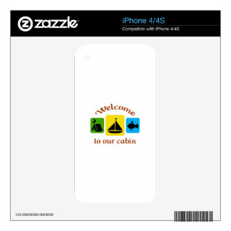 Welcome To Our Cabin Decals For The iPhone 4