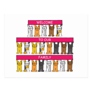 Welcome to our family, cartoon cats. postcard