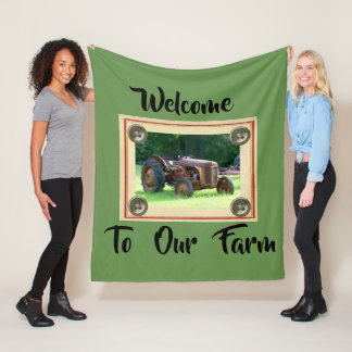 Welcome To Our Farm medium Fleece Blanket