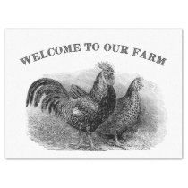 Welcome to our Farm Vintage rooster chicken tissue Tissue Paper