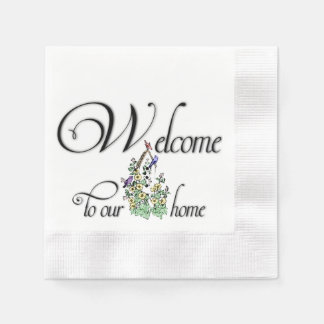 Welcome to Our Home Coined Cocktail Napkin