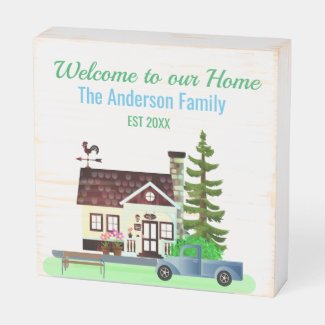 Welcome to our Home / Family Wood Box Sign
