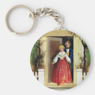Welcome to Our Home Vintage Christmas Basic Round Button Keychain