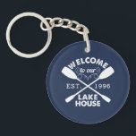 "Welcome to our Lake House Personalized Keychain<br><div class=""desc"">Start your guests&#39; lake vacation off right with this rustic-chic keychain. Design features &quot;Welcome to our Lake House&quot; in sandblasted white text with a rope illustration and two crossed canoe paddles. Customize with the year you started living life on the lake. Perfect for realtors or vacation rental property managers, this...</div>"