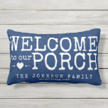 "Welcome to our Porch Custom Family | Blue &amp; White Lumbar Pillow<br><div class=""desc"">Reversible pillow in nautical blue welcomes family and friends to your porch. Message on the front is personalized with your name and year established, on the back is a coordinating white stripe pattern. And it&#39;s easy to customize the background color on the front and back to match your decor and...</div>"