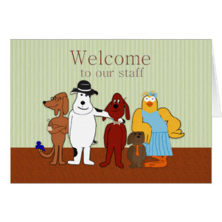 Welcome to Our Staff, Humorous, Cartoon Animals Card
