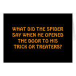 """""""WELCOME TO OUR WEB"""" SAYS THE SPIDER ON HALLOWEEN CARD"""